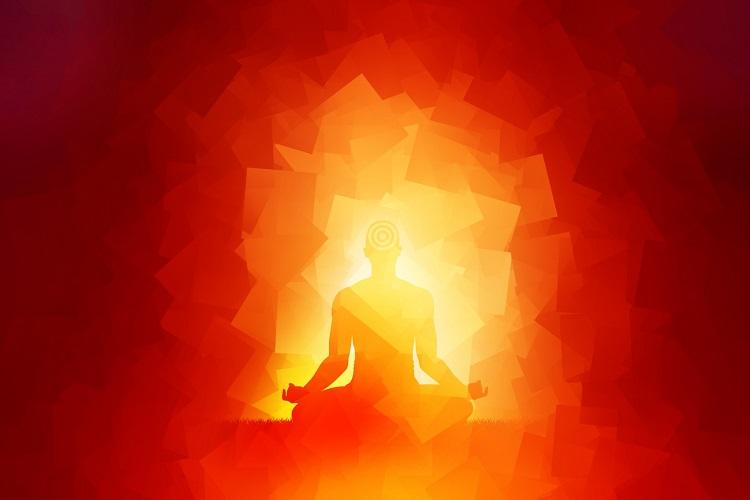 Buntes Schattenbild eines meditierenden Mannes
